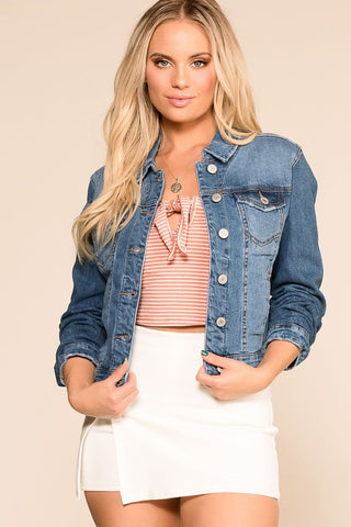 Midnight Blossoms Distressed Denim Jacket