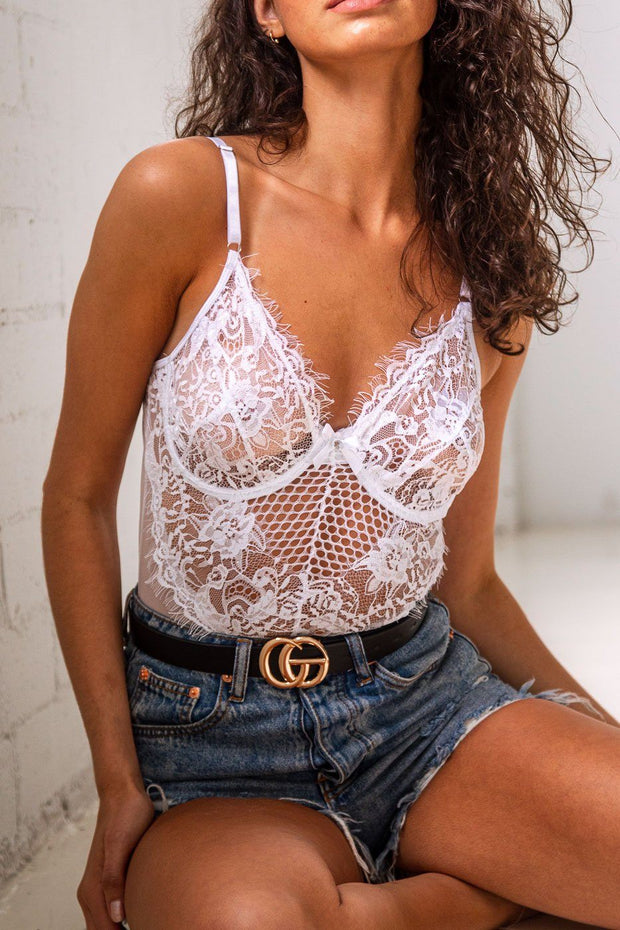 Jolene White Lace Bodysuit