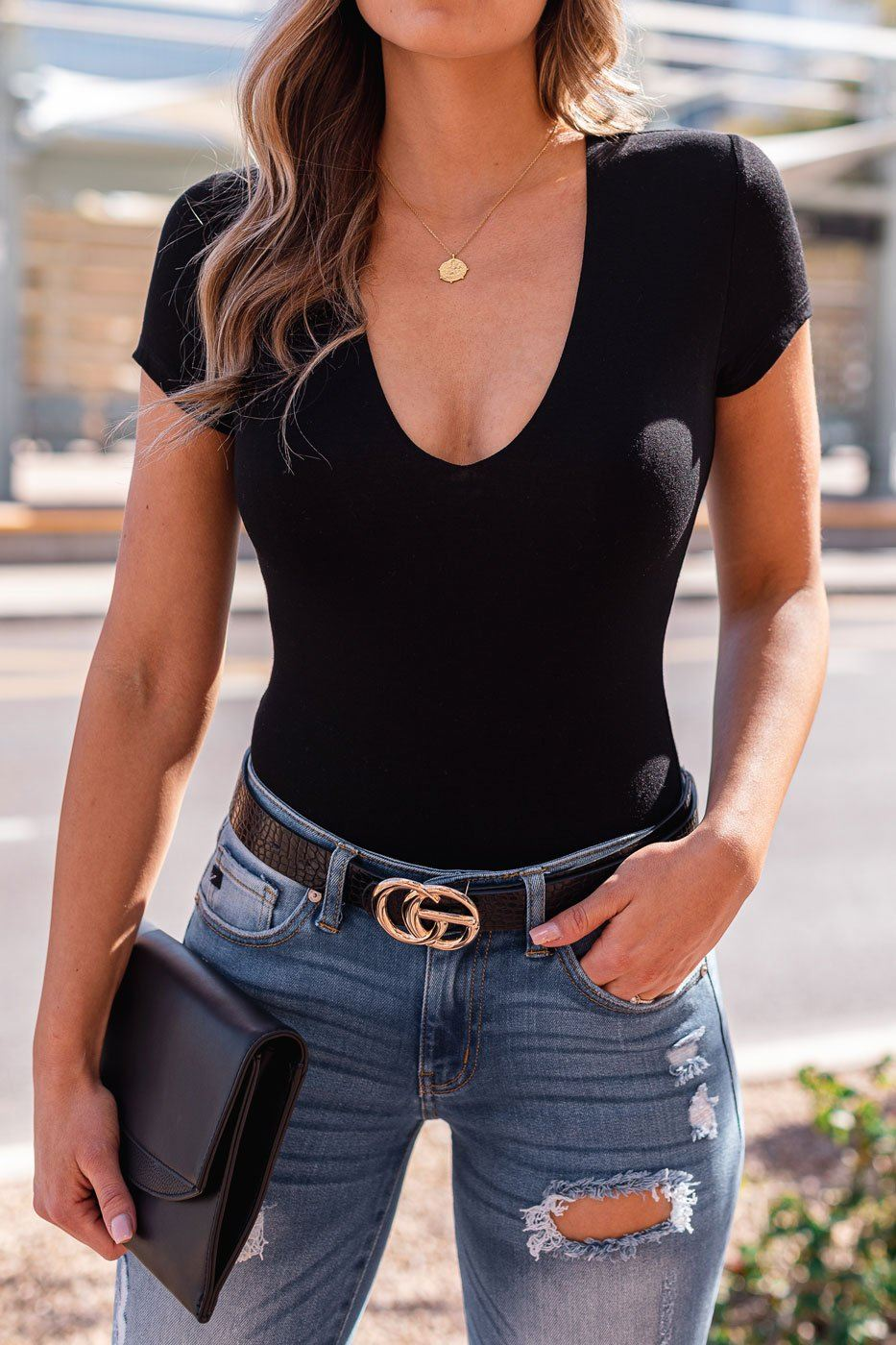 Black V-Neck Bodysuit