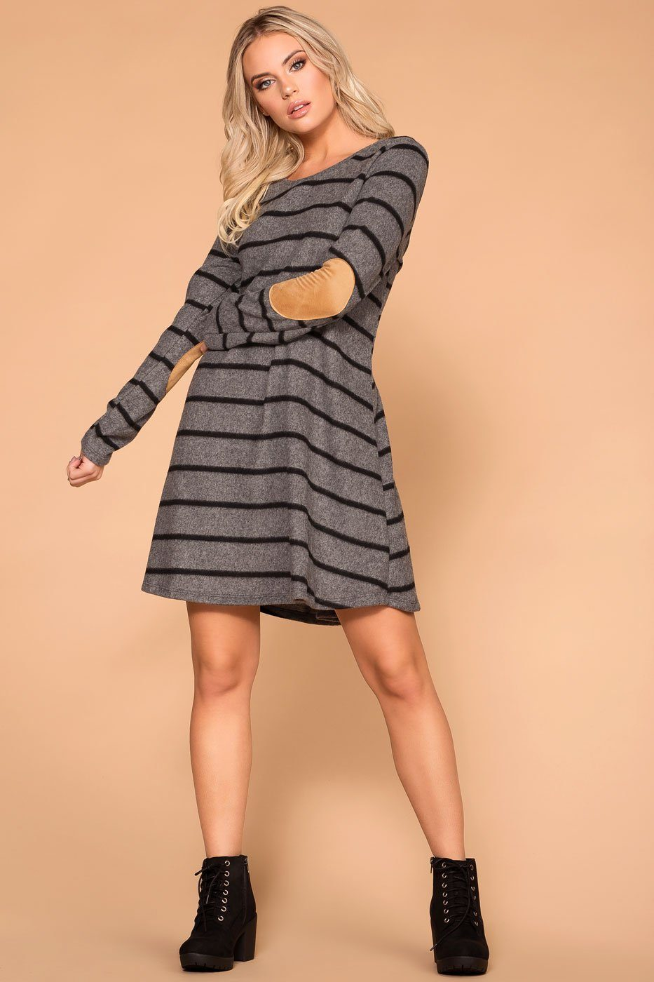 Charcoal Elbow Patch Swing Dress
