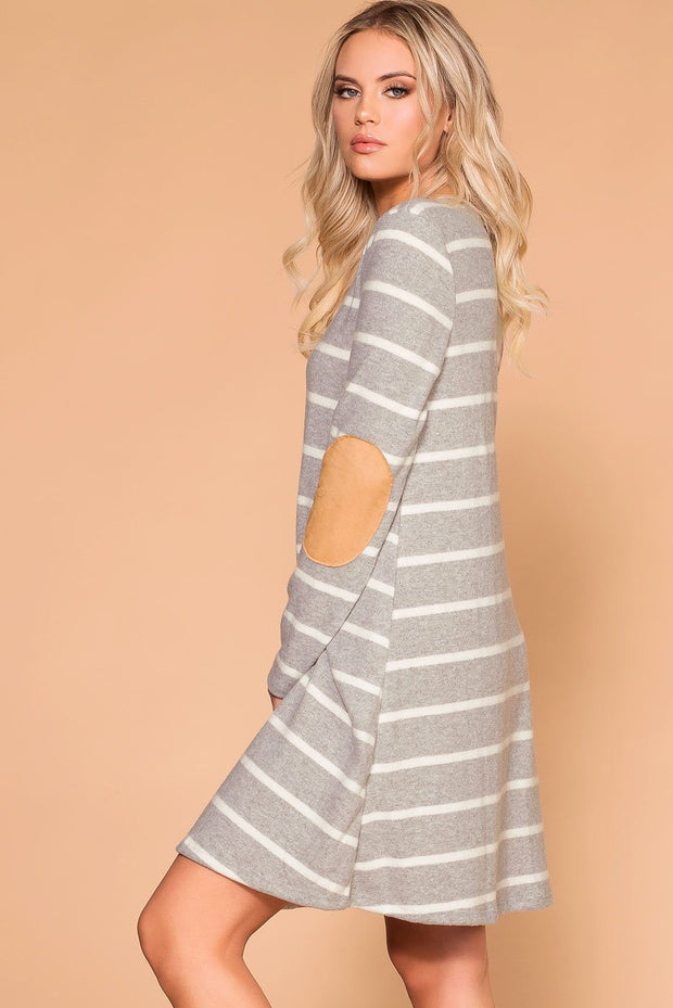 Heather Grey Elbow Patch Shift Dress