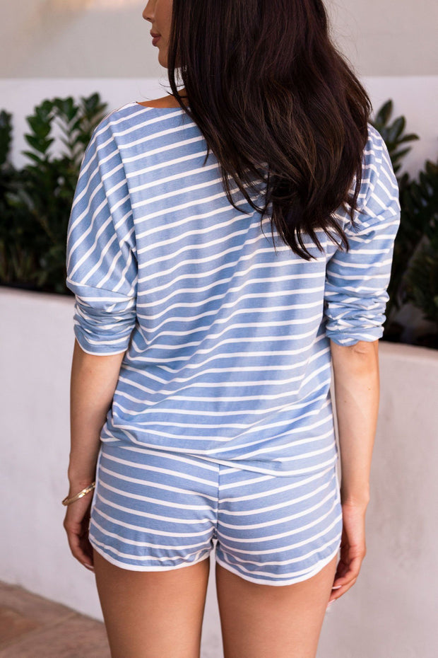 Joyce Blue Stripe Long Sleeve Top