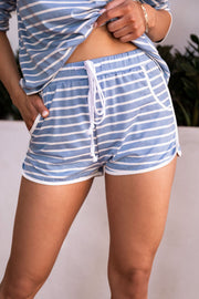 Joyce Blue Stripe Lounge Shorts