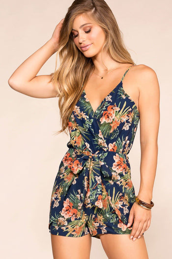 Julee Navy Tropical Print Romper | Timing