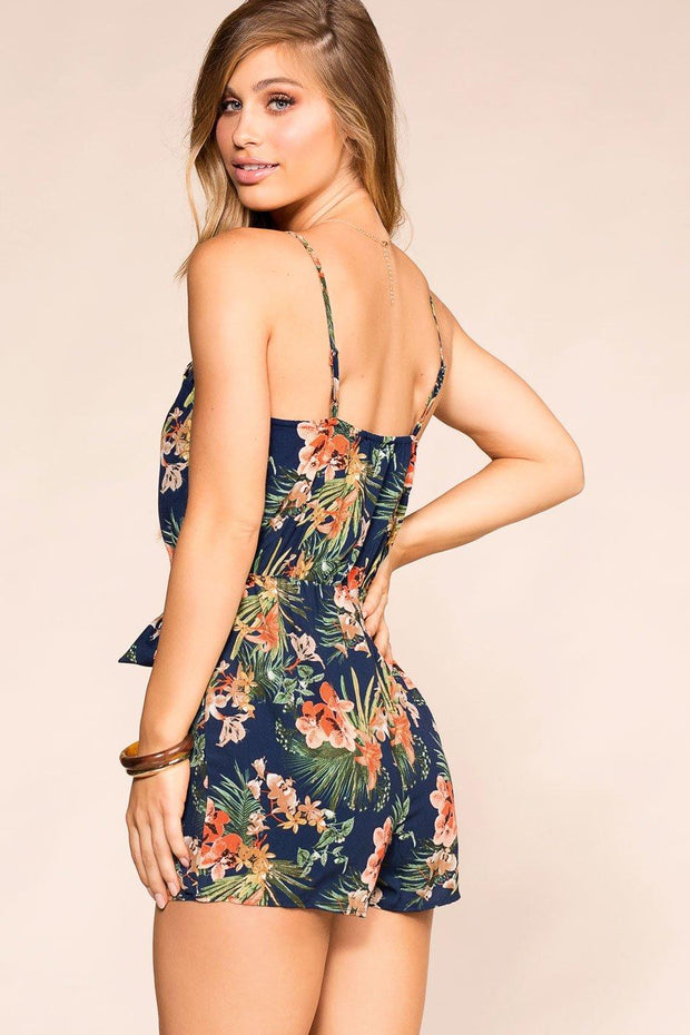 Navy Tropical Print Romper