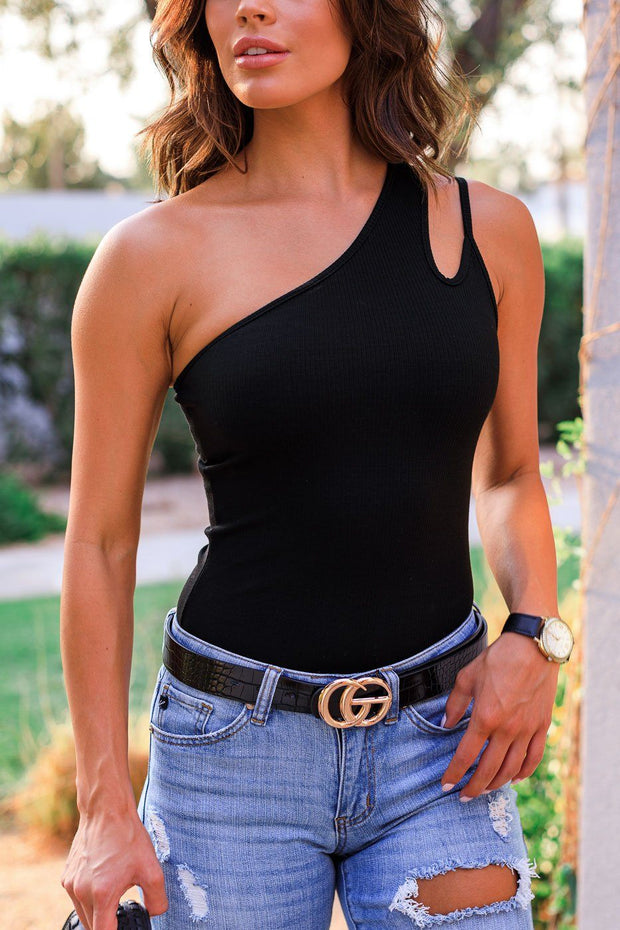Black Asymmetrical Bodysuit