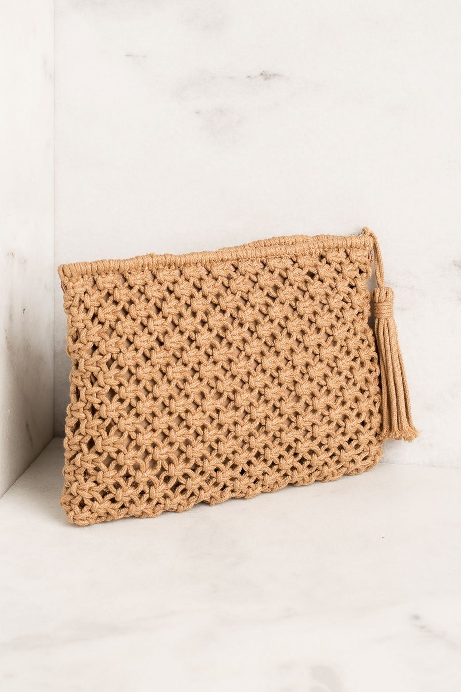 Woven Clutch with Tassel Zipper