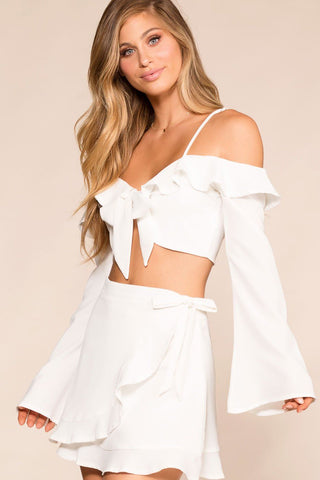 Born Free White Bell Sleeve Crop Top