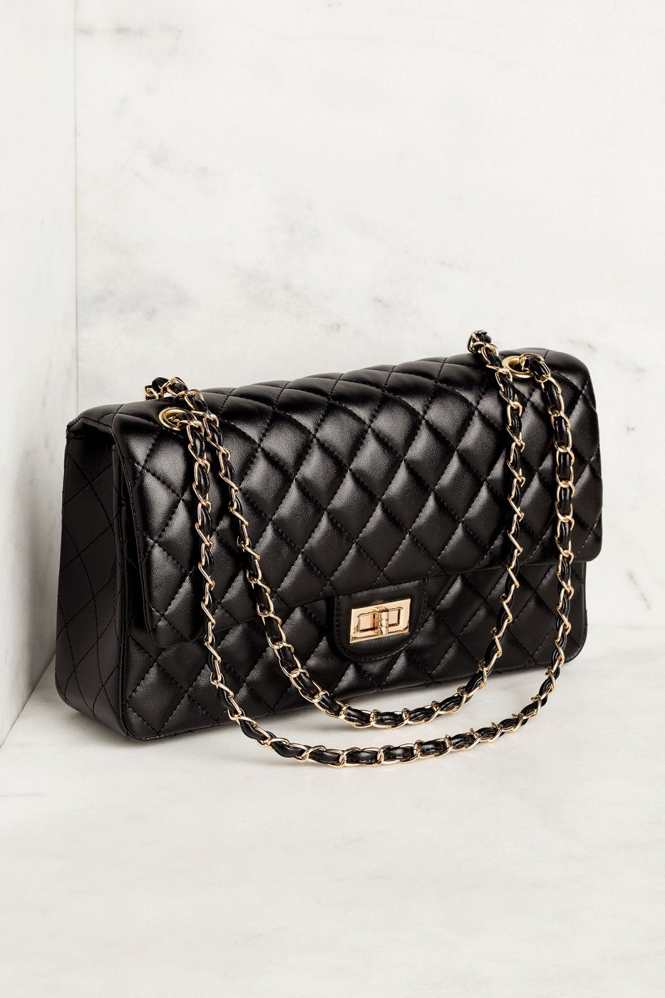 Black Quilted Handbag with Gold Accents
