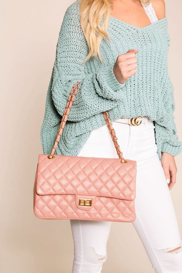 Blush Quilted Handbag with Gold Accents