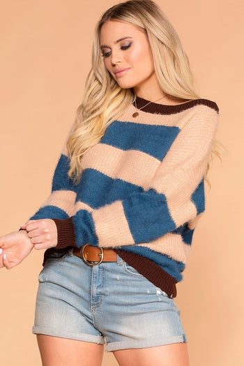 Priceless | Fuzzy Sweater | Stripe Sweater | Colorblock Sweater | Womens