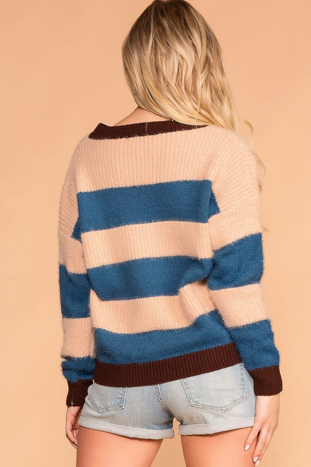 Shop Priceless | Fuzzy Sweater | Stripe | Colorblock | Womens