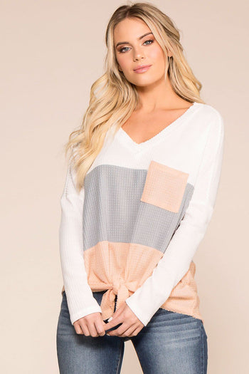 Priceless | Grey | White | Blush | Color Block | Pocket Top | Womens