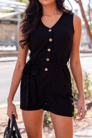 Black Coconut Button Tie-Front Romper