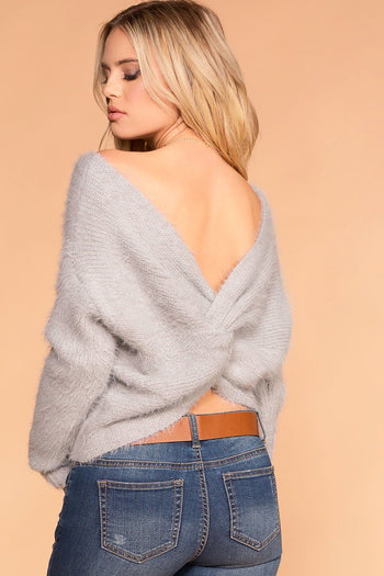 Priceless | Grey | Fuzzy Sweater | Twist Back Sweater | Womens