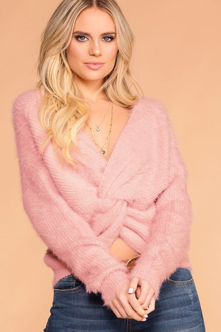 Kaitlyn Mauve Fuzzy Twist Back Sweater  5834b3eb6