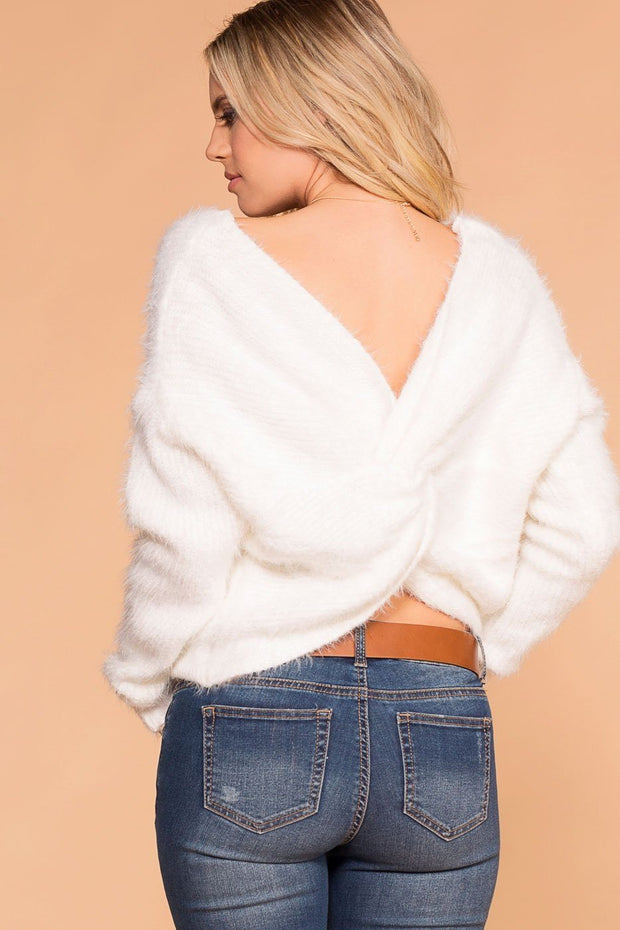 Priceless | White | Fuzzy Sweater | Twist Back Sweater | Womens