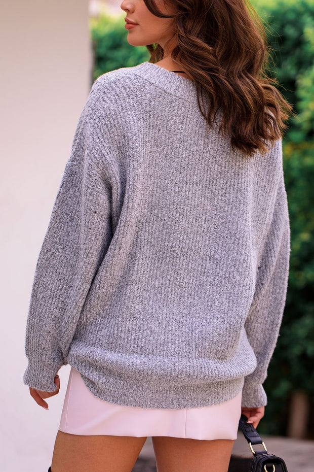 Kara Heather Grey Oversize Knit V-Neck Sweater