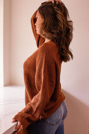 Hazlenut Oversize Knit V-Neck Sweater