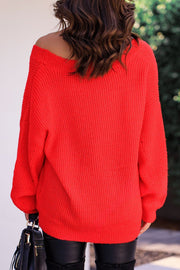 Red Oversize Knit V-Neck Sweater