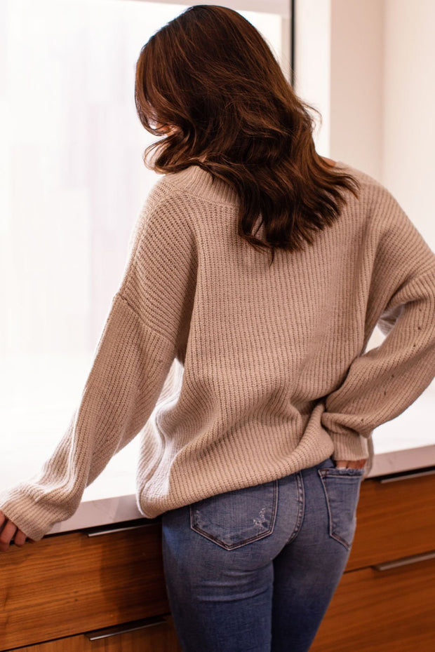 Taupe Oversize Knit V-Neck Sweater