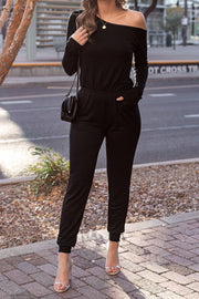 Kath Black Asymmetrical Off The Shoulder Jumpsuit