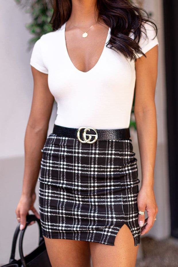 Katherine Black Plaid Mini Skirt