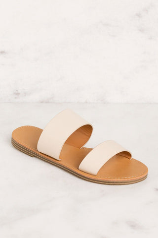 Barbara Vegan White Slide Sandals