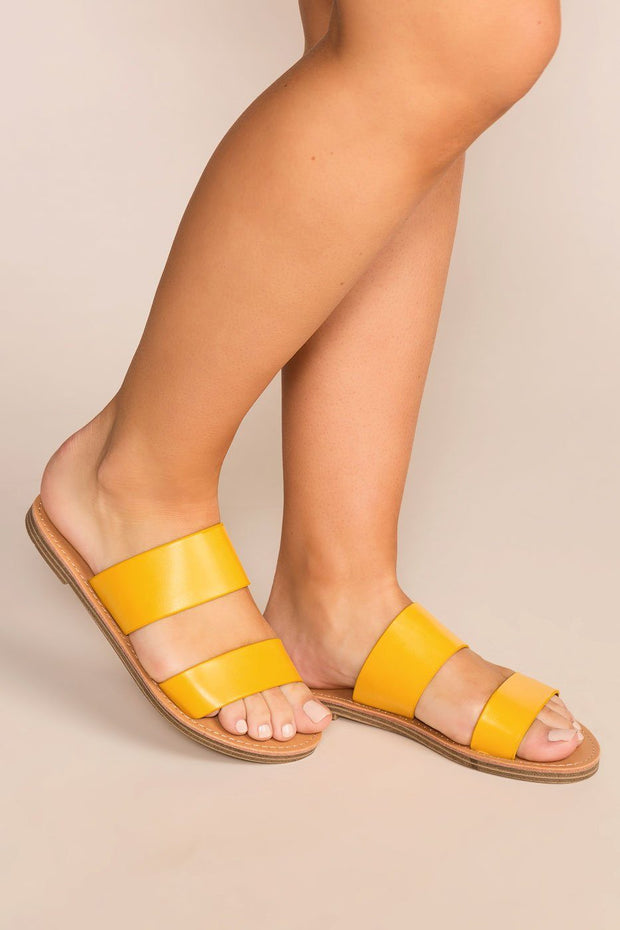 Priceless | Mustard | Slide On Sandals | Shoes | Womens