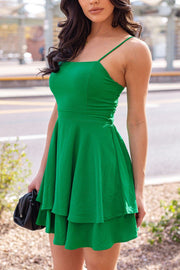 Green Layered Skater Dress