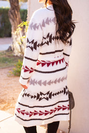 Patterned Sherpa Cardigan