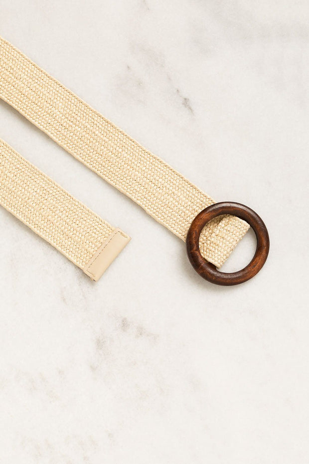 Natural Wood Buckle Belt with Stretch