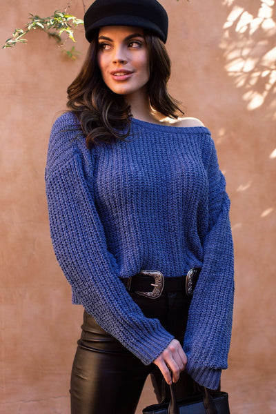 Kelsie Blue Knit Sweater