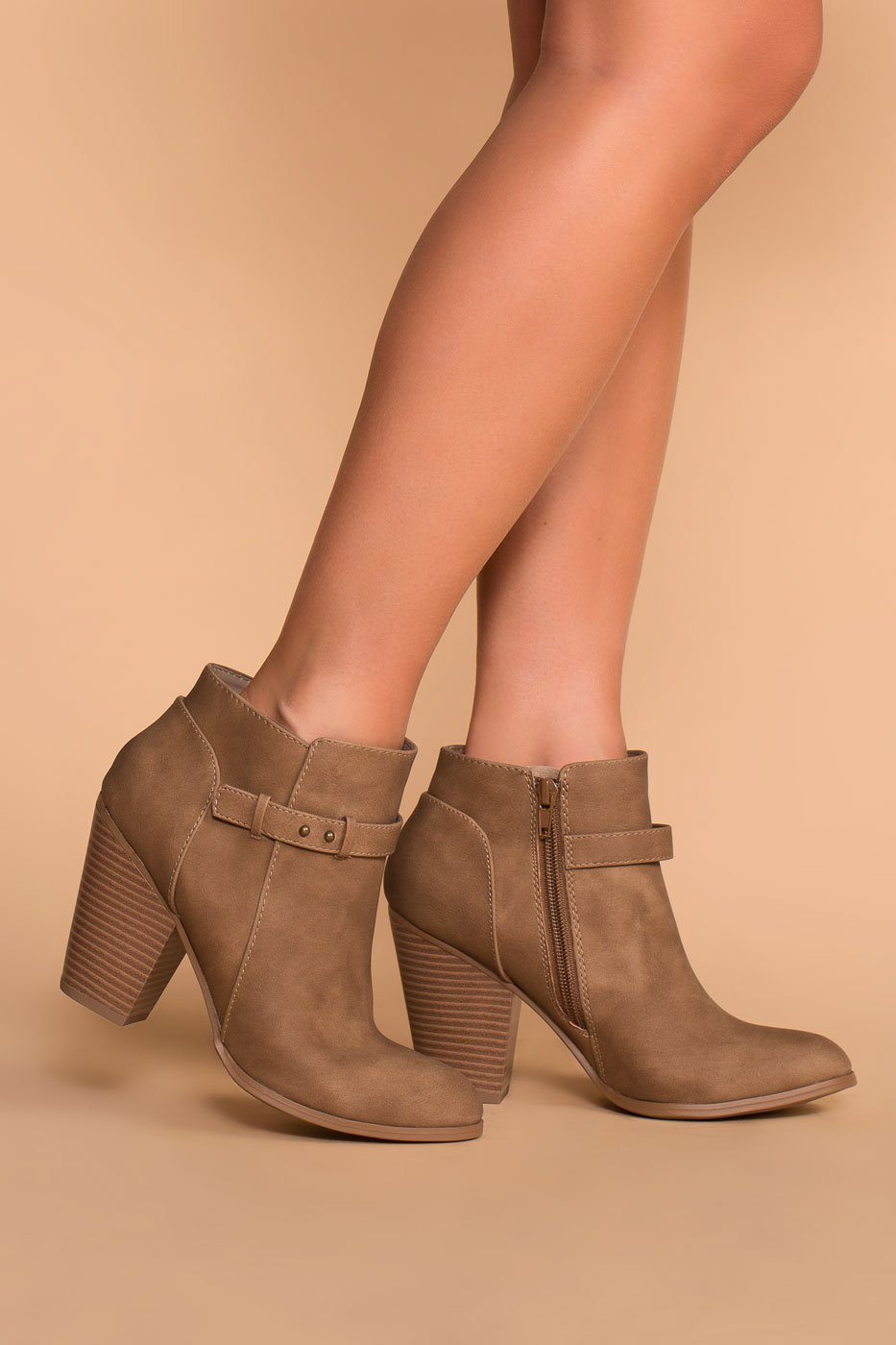 Taupe | Buckle Booties | Vegan | Leather | Heels | Priceless