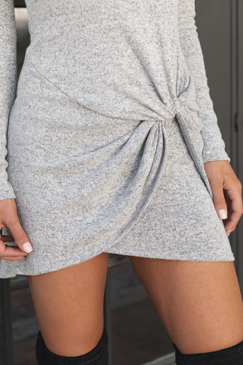 Heather Grey Twist Knot Sweater Dress