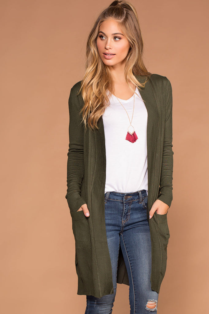Kokette Long Cardigan   Olive by Priceless
