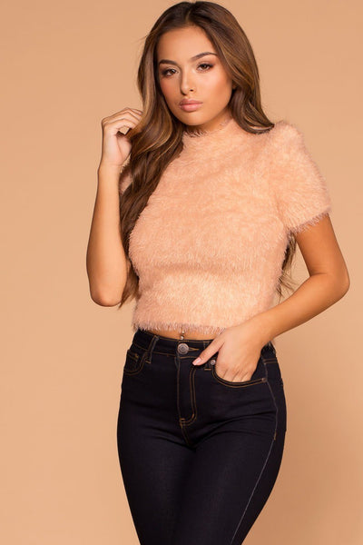 Kristina Blush Fuzzy Crop Sweater Top | Shop Priceless