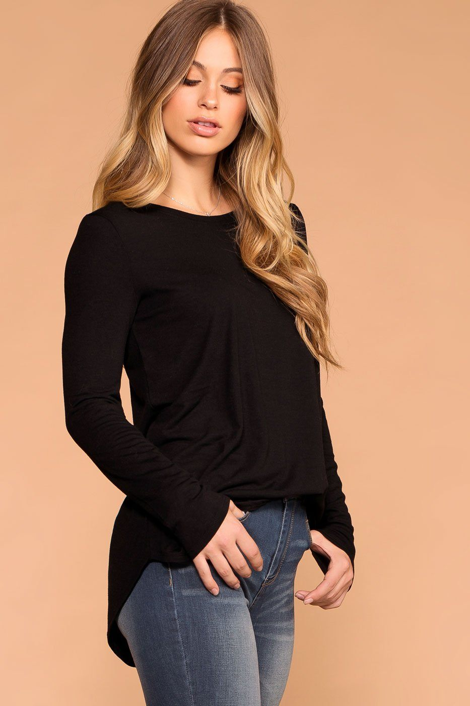 Priceless | Black | Round Neck Long Sleeve Top | Womens
