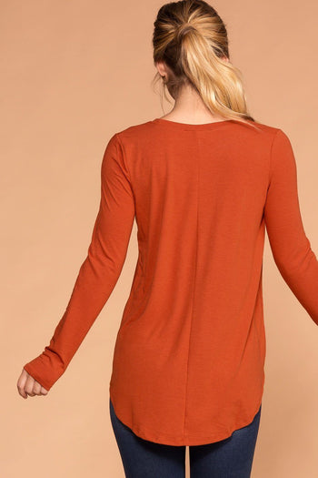 Priceless | Copper Round Neck Long Sleeve Knit Top | Womens