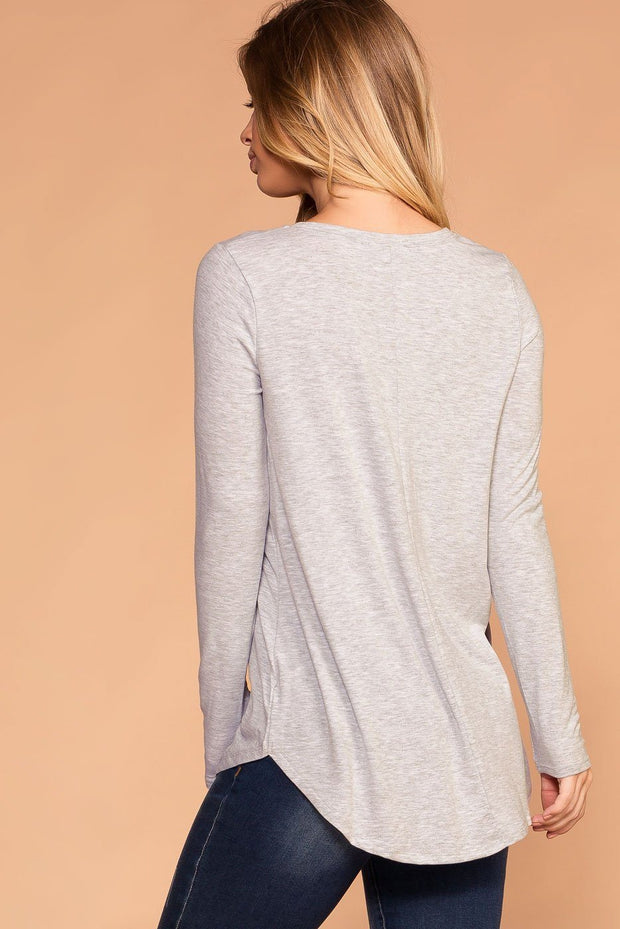 Priceless | Heather Grey | Round Neck Long Sleeve Top | Womens