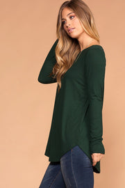 Priceless  |Hunter Green | Round Neck Long Sleeve Knit Top | Womens