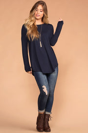 Priceless | Navy Round Neck Long Sleeve Knit Top | Womens