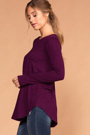 Priceless | Plum | Round Neck Long Sleeve Top | Womens