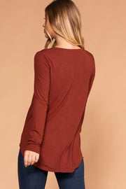 Priceless | Rust | Round Neck Long Sleeve Top | Womens