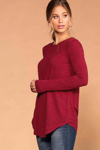 Priceless | Burgundy | Round Neck Long Sleeve Knit Top | Womens