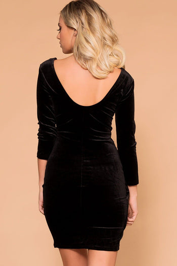 Priceless | Black Velvet | Wrap Mini Dress | Womens