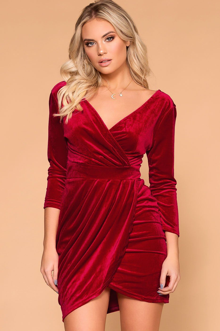a64cd806dc7b Lady Luck Red Velvet Wrap Mini Dress