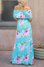 Off The Shoulder Blue Floral Maxi Dress