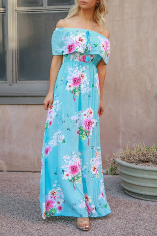 Swept Away Tropical Print Maxi Romper