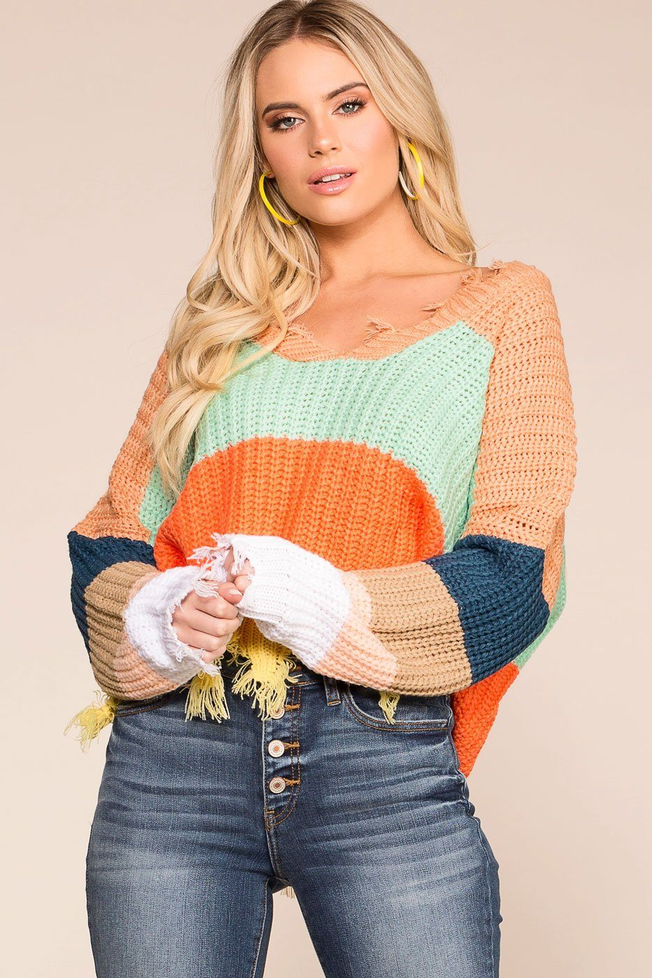 3409e4b5f35 Late Nights Amber Colorblock Distressed Knit Sweater | Miracle Sweater